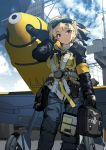 1girl adjusting_hair aircraft aircraft_carrier bag bf_109 blonde_hair blue_sky clipboard clouds eyebrows_visible_through_hair from_below goggles goggles_on_head harness landing_gear looking_at_viewer military military_vehicle original propeller red_eyes satchel ship siqi_(miharuu) sketch sky smile solo warship watercraft
