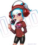 1girl agent_8 aqua_hair arm_behind_back bike_shorts black_footwear closed_mouth commentary cowboy_shot emblem english headphones highres holding light_frown long_sleeves looking_at_viewer makeup mascara meta octoling octopus puchiman red_eyes red_shirt shirt short_hair short_over_long_sleeves short_ponytail short_sleeves solo splatoon splatoon_2 splatoon_2:_octo_expansion standing t-shirt tentacle_hair twitter_username white_background