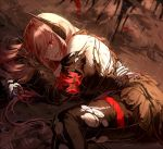 1girl armband bangs black_legwear breasts damaged deep_wound eyebrows_visible_through_hair girls_frontline gloves hair_between_eyes headgear injury jacket long_hair looking_at_viewer lying m4_sopmod_ii_(girls_frontline) medium_breasts multicolored_hair on_side open_mouth pantyhose pink_hair prosthesis prosthetic_arm puddle rain red_eyes redhead reflection severed_limb silence_girl smile solo streaked_hair tearing_up torn_clothes torn_pantyhose