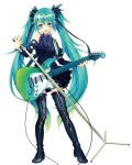 1girl :d bangs black_footwear black_shirt black_skirt blue_eyes blue_hair boots contrapposto detached_sleeves full_body gradient_hair green_hair guitar hair_between_eyes hair_ribbon hatsune_miku highres holding holding_instrument holding_microphone instrument long_hair looking_at_viewer microphone microphone_stand miniskirt multicolored_hair open_mouth renta_(deja-vu) ribbon shirt simple_background skirt sleeveless sleeveless_shirt smile solo standing thigh-highs thigh_boots twintails two-tone_hair very_long_hair vocaloid white_background