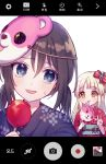 +_+ 2girls :3 :d alternate_hairstyle bang_dream! black_hair black_kimono blonde_hair blue_eyes blush bow candy_apple character_mask cotton_candy eating eyebrows_visible_through_hair flower_knot food hair_bow holding holding_food japanese_clothes kimono long_hair mask mask_on_head michelle_(bang_dream!) multiple_girls obi okusawa_misaki one_side_up open_mouth poyo_(shwjdddms249) red_bow red_kimono sash self_shot smile sweatdrop tsurumaki_kokoro twintails v viewfinder white_background yellow_eyes