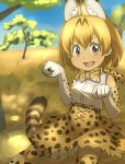 1girl :d animal_ears bangs bare_shoulders blue_sky bob_cut bow bowtie breasts commentary_request cross-laced_clothes dappled_sunlight day elbow_gloves gloves hair_between_eyes hands_up high-waist_skirt highres kemono_friends large_breasts looking_at_viewer open_mouth orange_eyes orange_gloves orange_hair orange_legwear orange_neckwear orange_skirt outdoors parted_bangs paw_pose print_gloves print_legwear print_neckwear print_skirt savannah serval_(kemono_friends) serval_ears serval_girl serval_print serval_tail shirt short_hair skirt sky sleeveless sleeveless_shirt smile solo sunlight tail tenya thigh-highs tree v-shaped_eyebrows white_shirt