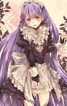 1girl cosplay felicia_(fire_emblem_if) felicia_(fire_emblem_if)_(cosplay) fingerless_gloves fire_emblem fire_emblem:_fuuin_no_tsurugi fire_emblem_heroes fire_emblem_if gem gloves highres juliet_sleeves lip_obrie long_hair long_sleeves maid maid_headdress open_mouth puffy_sleeves purple_hair ribbon sofiya solo violet_eyes