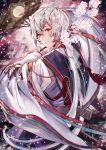 1boy brown_eyes cherry_blossoms fan floating_hair flower from_behind hamaru_log head_tilt highres holding japanese_clothes kimono long_hair looking_back original parted_lips pink_flower red_ribbon ribbon silver_hair smile solo very_long_hair