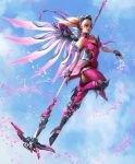1girl bangs blizzard_(company) flying full_body hair_between_eyes highres long_hair looking_at_viewer overwatch solo