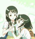 2girls backpack bag black_hair blush food kuroki_tomoko long_hair low_twintails multiple_girls necktie popsicle sweat tamura_yuri tenmaya twintails watashi_ga_motenai_no_wa_dou_kangaetemo_omaera_ga_warui!