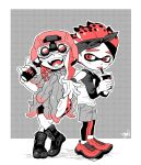 1boy 1girl arm_rest bike_shorts boots coral cup disposable_cup fangs full_body hakinikui_kutsu_no_mise halftone helmet inkling kelp leggings legs_crossed legwear_under_shorts limited_palette long_hair night_vision_device open_mouth shoes shorts smile sneakers spiky_hair splatoon splatoon_2 tentacle_hair tongue tongue_out