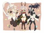 3girls absurdres antlers bangle bare_shoulders bikini black_hair bodystocking book bracelet breasts bridal_gauntlets cape circlet cleavage cosplay dress felicia_(fire_emblem_if) felicia_(fire_emblem_if)_(cosplay) female_my_unit_(fire_emblem:_kakusei) female_my_unit_(fire_emblem_if) fire_emblem fire_emblem:_kakusei fire_emblem_heroes fire_emblem_if full_body gloves hair_between_eyes hair_ornament hair_over_one_eye hairband highres jewelry koukou7722 long_hair looking_at_viewer maid maid_cap maid_headdress mamkute midriff my_unit_(fire_emblem:_kakusei) my_unit_(fire_emblem_if) navel olivia_(fire_emblem) olivia_(fire_emblem)_(cosplay) pointy_ears ponytail purple_hair red_eyes reindeer_antlers santa_costume silver_hair simple_background skin_tight smile swimsuit tharja tharja_(cosplay) tiara twintails two_side_up very_long_hair violet_eyes wavy_hair white_hair