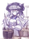 1girl chestnut_mouth commentary_request cooking japanese_clothes jitome kantai_collection kappougi kimono kitchen_knife ladle name_tag pot saucer shinkaisei-kan sketch solo sumisu_(mondo) wo-class_aircraft_carrier