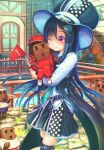 1girl ;) abo_(kawatasyunnnosukesabu) aqua_nails aqua_neckwear belt bird_hair_ornament black_vest blue_hair blush blush_stickers carrying cheek-to-cheek coattails commentary_request creature hachimaki hair_ornament hat headband hollow_eyes hollow_mouth jacket long_hair long_sleeves nail_polish name_tag necktie o_o one_eye_closed original pants pennant petticoat polka_dot red_eyes red_jacket red_pants shirt skirt smile track_jacket track_pants vest water_wheel white_footwear white_hat white_shirt