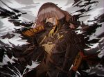 1girl assault_rifle bangs blonde_hair braid cloak corruption covering_mouth eyepatch floating_hair gloves gun hand_up holding holding_gun holding_weapon jacket long_hair m16a1 m16a1_(girls_frontline) mole mole_under_eye multicolored_hair necktie rifle sangvis_ferri scar shirt silence_girl single_braid solo spoilers streaked_hair torn_clothes weapon white_hair wind wind_lift