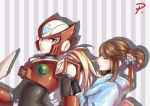 1boy 1girl android blonde_hair blue_eyes brown_hair capcom closed_mouth ct_wind flower hair_bun hair_flower hair_ornament helmet iris_(rockman_x) japanese_clothes kimono long_hair parted_lips patterned_background profile rockman rockman_x sidelocks smile striped striped_background tied_hair zero_(rockman)