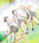 3girls ascot asobi_asobase belt black_hair black_skirt blonde_hair blouse blue_eyes brown_eyes character_request dutch_angle glasses highres kendama key_visual loafers long_hair low_twintails multiple_girls official_art open_mouth outdoors school_uniform shoes short_hair short_sleeves sitting skirt twintails white_blouse white_legwear