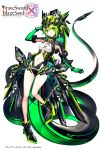 1girl black_footwear bracelet brave_sword_x_blaze_soul breasts copyright_name elbow_gloves full_body gloves green_eyes green_gloves green_hair hand_up headwear highres jewelry legacy_zechs looking_at_viewer mecha mecha_musume navel official_art science_fiction short_hair small_breasts standing tail watermark