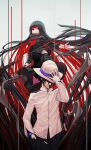 1boy 1girl absurdly_long_hair arm_up bangs black_hair black_scarf black_shirt black_skirt buttons closed_mouth commentary eyebrows_visible_through_hair fate_(series) flying gloves gradient_hair grey_background hand_in_pocket hand_on_headwear hat highres jacket katana koha-ace long_hair long_sleeves looking_at_viewer low_ponytail multicolored_hair neckerchief oryuu_(fate) pale_skin pleated_skirt ponytail red_eyes red_legwear red_neckwear redhead rotix sakamoto_ryouma_(fate) scabbard scarf shaded_face sheath sheathed shirt simple_background skirt smile standing sword two-tone_hair very_long_hair weapon white_gloves white_hat white_jacket