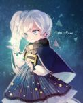 1girl blue_cape blue_dress blue_eyes cape commentary_request dress ecru korean_commentary ponytail rwby scar scar_across_eye solo star twitter_username weiss_schnee white_hair younger