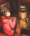 1girl abo_(kawatasyunnnosukesabu) bangs black_eyes black_hair blunt_bangs book can chair chopsticks commentary_request eating electric_socket food gloves gloves_removed heater highres holding_glove long_hair looking_at_viewer looking_back noodles orange_scarf original pink_coat plaid plaid_scarf pleated_skirt ramen scarf school_chair shoes shrimp shrimp_tempura sitting skirt smile solo tempura uwabaki winter winter_clothes wooden_floor
