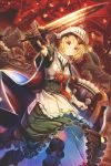 1girl 2others abo_(kawatasyunnnosukesabu) apron axe badge bangs black_hat blonde_hair bow breastplate brooch cape commentary_request dragon dress fantasy frilled_apron frilled_dress frills frown gauntlets green_dress hat highres holding holding_sword holding_weapon jewelry knight maid multiple_others original petticoat red_bow red_eyes sharp_teeth shield shoulder_spikes single_gauntlet solo_focus spiked_helmet spikes sword teeth thigh-highs waist_apron weapon white_apron witch_hat