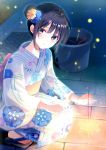 1girl ahoge back_bow bangs black_eyes black_hair blue_flower bow bucket bucket_of_water commentary_request fireflies fireworks floral_print flower geta hair_bun hair_flower hair_ornament hand_on_lap japanese_clothes kashiwaba_en kimono light_blush light_smile looking_at_viewer night no_socks obi original outdoors sash senkou_hanabi sidelocks solo sparkler squatting summer yellow_flower yukata
