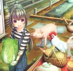 1girl :d abo_(kawatasyunnnosukesabu) animal bangs basket bird black_eyes black_hair bowl bracelet bucket chicken commentary_request farm farmer gloves holding holding_vegetable jewelry lettuce long_sleeves looking_at_viewer mud open_mouth original outdoors overalls pig pocket ponytail shirt sidelocks smile solo stepping_stones striped striped_shirt trowel watering_can