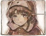 1girl bangs commentary_request copyright_name eyebrows_visible_through_hair hair_between_eyes hat iwakura_lain looking_at_viewer monochrome sakino_shingetsu serial_experiments_lain solo