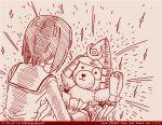 1girl boko_(girls_und_panzer) comic dated girls_und_panzer holding holding_stuffed_animal monochrome nishizumi_miho ooarai_school_uniform red rosmino short_hair stuffed_animal stuffed_toy teddy_bear tegaki tegaki_draw_and_tweet twitter_username