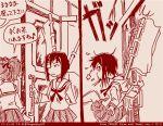 2girls comic dated girls_und_panzer kawashima_momo koyama_yuzu long_hair monochrome multiple_girls ooarai_school_uniform red rosmino tegaki tegaki_draw_and_tweet translation_request twitter_username