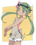 1girl dark_skin flower green_eyes green_hair hair_flower hair_ornament ixy long_hair mao_(pokemon) overalls pokemon pokemon_(game) pokemon_sm solo trial_captain twintails