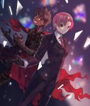 1boy 1girl avenger bandage bazett_fraga_mcremitz black_gloves black_jacket black_pants brown_eyes brown_hair dark_skin dutch_angle eyebrows_visible_through_hair fate/hollow_ataraxia fate_(series) formal gloves grin highres jacket kaerude123 looking_at_viewer necktie orange_eyes pant_suit pants red_neckwear redhead shirt short_hair smile standing suit tattoo white_shirt