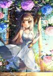 1girl absurdres artist_name bangs blunt_bangs blush brown_eyes brown_hair day dress flower flower_on_water highres hishaku hydrangea long_hair looking_at_viewer onew original petals pouring reflection ripples sky smile solo standing summer sundress water white_dress