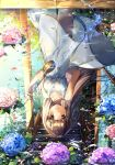 1girl absurdres artist_name bangs blunt_bangs blush brown_eyes brown_hair commentary_request day dress flower flower_on_water highres hishaku hydrangea long_hair looking_at_viewer onew original petals pouring reflection ripples sky smile solo standing summer sundress upside-down water white_dress