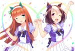 2girls ;d animal_ears arm_up bangs blunt_bangs blush bow bowtie braid breasts brown_hair collarbone commentary_request confetti ear_covers ear_ribbon eyebrows_visible_through_hair floating_hair french_braid frilled_skirt frills green_eyes hair_between_eyes hair_bow hair_ribbon hairband hands_up head_tilt heart high-waist_skirt highres hime_cut horse_ears long_hair looking_at_viewer multicolored_hair multiple_girls one_eye_closed open_mouth orange_hair outstretched_arm pinky_swear pleated_skirt puffy_short_sleeves puffy_sleeves purple_bow purple_neckwear purple_ribbon ribbon school_uniform shiny shiny_hair short_hair short_sleeves sidelocks silence_suzuka simple_background skirt small_breasts smile special_week standing straight_hair tareme tomo_(user_hes4085) two-tone_hair umamusume violet_eyes white_background white_hair white_hairband white_skirt