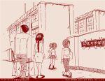 1boy 3girls comic dated father_and_daughter girls_und_panzer husband_and_wife koyama_yuzu long_hair monochrome mother_and_daughter multiple_girls nishizumi_maho nishizumi_shiho nishizumi_tsuneo ooarai_school_uniform red rosmino short_hair tegaki tegaki_draw_and_tweet translation_request twitter_username