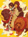 1girl animal blush brown_hair carrying chinese_zodiac closed_eyes crisalys dog fur_trim highres long_hair new_year nike open_mouth original piggyback shoes shoes_removed smile smoke sneakers solo tibetan_mastiff tongue walking year_of_the_dog yellow_background