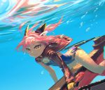 1girl ahoge azur_lane bubble competition_swimsuit hair_ornament highres jacket one-piece_swimsuit pink_hair rias-coast swimsuit u-81_(azur_lane) underwater yellow_eyes
