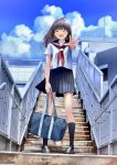 1girl ^_^ bag bangs black_footwear black_legwear chikuwa_(odennabe) closed_eyes commentary_request day holding holding_bag kneehighs long_hair neckerchief open_mouth original outdoors outstretched_hand pedestrian_bridge pleated_skirt radio_antenna railing red_neckwear school_bag school_uniform serafuku shoes short_sleeves skirt smile solo stairs standing