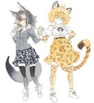 2girls animal_ears belt blonde_hair bow bowtie calligraphy_brush center_frills coat commentary_request elbow_gloves fur_collar fur_trim gloves grey_hair grey_wolf_(kemono_friends) hand_holding jaguar_(kemono_friends) jaguar_ears jaguar_print jaguar_tail kemono_friends konabetate long_hair long_sleeves multicolored_hair multiple_girls necktie paintbrush plaid plaid_skirt pleated_skirt puffy_short_sleeves puffy_sleeves short_hair short_sleeves skirt sleeve_cuffs sweatdrop tail thigh-highs white_hair wolf_ears wolf_tail