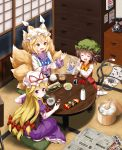 3girls :d ^_^ animal_ears ass blonde_hair bow bowtie brown_hair calendar_(object) cat_ears cat_tail chen chopsticks closed_eyes commentary_request container drawer dress earrings elbow_gloves eyebrows_visible_through_hair fish flower food fox_tail from_behind gloves green_hat hair_between_eyes hair_bow hat hat_ribbon highres holding indoors jewelry long_sleeves looking_at_another looking_at_viewer looking_back miso_soup mob_cap multiple_girls multiple_tails newspaper no_shoes open_mouth petticoat phone pillow_hat purple_dress red_bow red_flower red_ribbon red_rose red_skirt red_vest ribbon rice rose ruu_(tksymkw) short_hair sitting skirt smile socks soup soy_sauce tabard table tail tatami touhou translation_request two_tails vase vest violet_eyes white_gloves white_hat white_legwear wide_sleeves yakumo_ran yakumo_yukari yellow_bow yellow_eyes yellow_neckwear