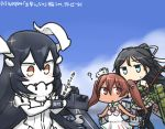 3girls ? anchorage_water_oni black_hair blue_eyes blue_sky blush bow_(weapon) brown_eyes brown_hair cellphone clouds commentary_request dark_skin dated day dress flight_deck hair_ribbon hamu_koutarou horns japanese_clothes kantai_collection katsuragi_(kantai_collection) libeccio_(kantai_collection) long_hair machinery multiple_girls ocean open_mouth paravane phone ponytail ribbon sailor_dress shinkaisei-kan sky smartphone sparkle sweat twintails weapon white_dress white_skin