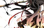 1girl dark_skin fate/grand_order fate_(series) fighting_stance hair_ornament ink long_coat long_hair okita_souji_(alter)_(fate) okita_souji_(fate)_(all) ootachi profile saigo sparks very_long_hair white_background white_hair