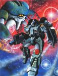1boy 80s alien artist_request beam_rifle dissolving energy_gun gloves gurab helmet inbit kikou_souseiki_mospeada mecha milky_way missile_pod mospeada mospeada_(mecha) official_art oldschool power_armor promotional_art ride_armor scan science_fiction space star star_(sky) starry_background stick_bernard traditional_media weapon