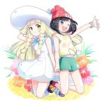 2girls beanie black_hair blonde_hair blue_eyes braid dress flower green_eyes green_shorts hand_holding hand_on_headwear hat lillie_(pokemon) long_hair mizuki_(pokemon) multiple_girls one_eye_closed open_mouth pokemon pokemon_(game) pokemon_sm red_hat shirt short_hair short_sleeves shorts sleeveless sleeveless_dress smile sun_hat tied_shirt twin_braids twitter_username white_dress white_hat yuki56 z-ring