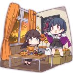 2girls :d ayasaka balloon bangs bat black_hair black_neckwear black_pants black_skirt blouse blue_hair bracelet candy cape chair chibi commentary_request crescent curtains folding_chair food ghost green_eyes hair_ornament hair_ribbon hairclip halloween high-waist_skirt indoors jack-o'-lantern jewelry kurosawa_dia love_live! love_live!_sunshine!! magic_circle mole mole_under_mouth multiple_girls neck_ribbon on_box open_mouth pants poster_(object) purple_cape red_ribbon ribbon sandals side_bun sitting skirt smile standing standing_on_object star striped striped_ribbon sunset sweater table tsushima_yoshiko upper_teeth v violet_eyes wavy_mouth white_blouse window