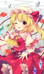 1girl ;d absurdres air_bubble ascot blonde_hair blush bow bubble crystal eyebrows_visible_through_hair fish flandre_scarlet frilled_shirt_collar frills goldfish hand_up hat hat_ribbon highres looking_at_viewer mob_cap one_eye_closed one_side_up open_mouth petticoat pointing pointing_at_self puffy_short_sleeves puffy_sleeves red_bow red_eyes red_ribbon red_skirt red_vest ribbon ruhika short_hair short_sleeves skirt smile solo touhou underwater vest white_hat wings wrist_cuffs yellow_neckwear