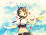 1girl armpits bangs bare_shoulders breasts brown_hair cherry_blossoms choker clouds cloudy_sky gloves grauver green_eyes hair_between_eyes hairband headgear kantai_collection large_breasts midriff miniskirt mutsu mutsu_(kantai_collection) navel pleated_skirt radio_antenna short_hair skirt sky solo white_gloves