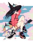 1girl blue_hair blush bubble_blowing chewing_gum clouds crisalys electric_guitar fan frog guitar hat heart highres instrument long_hair long_sleeves looking_to_the_side nike original ponytail puffy_sleeves red_shirt riding shirt shoelaces shoes shorts sidelocks sitting sneakers solo star triangle witch witch_hat