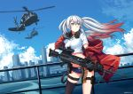 1girl absurdres aircraft ammunition_belt aqua_eyes bangs black_legwear blue_sky breasts choker cityscape clouds crop_top day floating_hair girls_frontline gloves gun hair_between_eyes hair_ornament hairclip hand_on_headset headset helicopter highres holding holding_gun holding_weapon jacket long_hair looking_away lwmmg_(girls_frontline) machine_gun midriff multicolored_hair ndtwofives off_shoulder outdoors red_jacket scenery shirt short_shorts shorts sidelocks silver_hair single_thighhigh skindentation sky solo standing star star_choker thigh-highs thigh_strap thighs twintails twitter_username two-tone_hair weapon white_shirt wind wind_lift