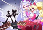 4girls absurdres aisaki_emiru bangs bare_shoulders blunt_bangs bow bowtie cure_amour cure_black cure_macherie cure_white dress drill_hair earrings frilled_dress frills futari_wa_precure gloves guitar highres hugtto!_precure instrument jewelry long_hair magical_girl multicolored multiple_girls otokamu precure puffy_short_sleeves puffy_sleeves ruru_amour short_sleeves white_gloves