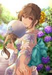 1girl :d aqua_bow back_bow bangs blue_flower bow braid brown_eyes brown_hair commentary_request day eyebrows_visible_through_hair fan floral_print flower hair_flower hair_ornament hair_over_shoulder hand_holding highres holding holding_fan hydrangea japanese_clothes kimono long_hair obi open_mouth original outdoors paper_fan pov pov_hands purple_flower sash shintou sidelocks smile solo_focus uchiwa wide_sleeves yellow_flower