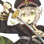 1boy byakuya0315 character_name close-up dated green_eyes hat hotarumaru male_focus military military_hat military_uniform ootachi silver_hair solo touken_ranbu uniform